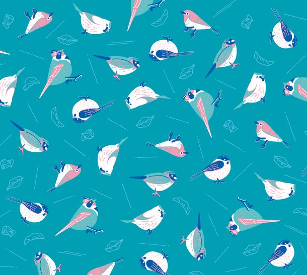 鳥と葉っぱとブルー
